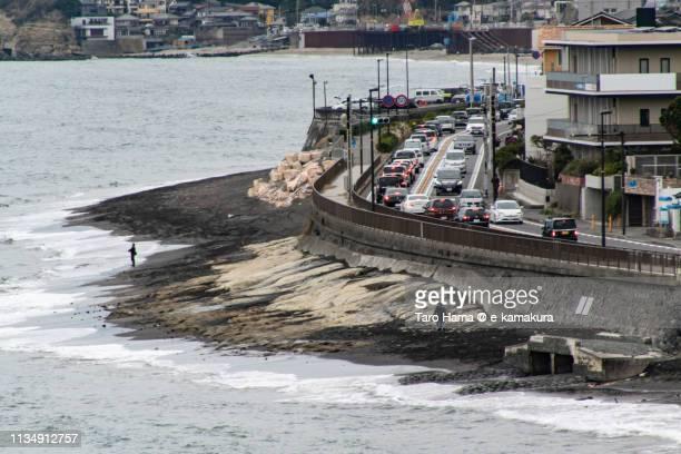 Traffic jam on the Pacific Ocean coast road in Japan