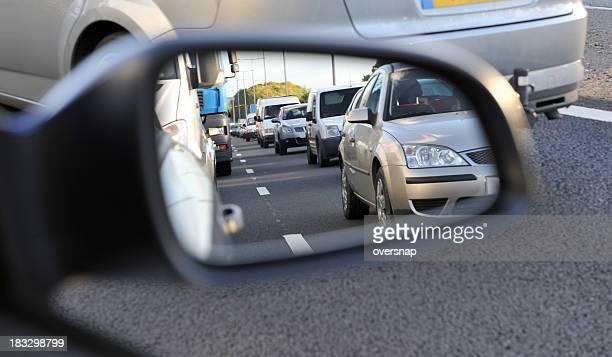 traffic jam - side view mirror stock photos and pictures