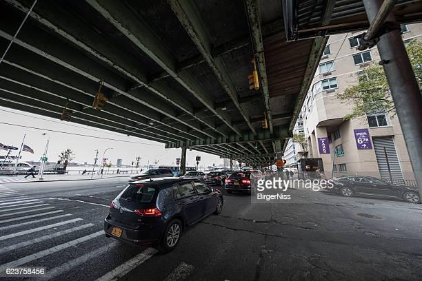 Traffic jam under FDR Drive, Manhattan, New York City, USA