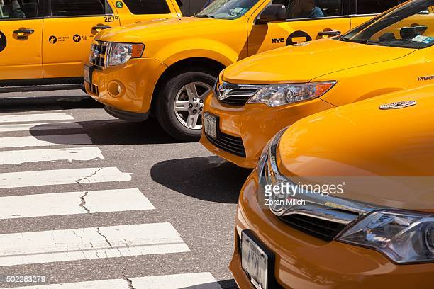Traffic jam with taxi's in the Manhattan Borough of New York New York USA