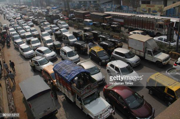 Traffic jammed for more than 5 hours due to Rasta Roko by Dalit protesters during Maharashtra Bandh at Western Express Highway they demand arrested...