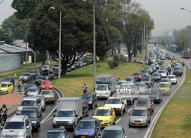 Traffic jamming during a public transportation strike on March 3 2010 in Bogota Colombia The strike has forced thousands of people in Bogota to make...