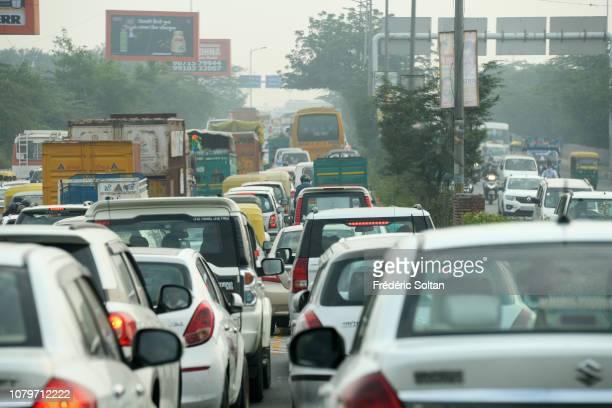 Traffic jams in Delhi the capital of India on December 2 2018 in Delhi India