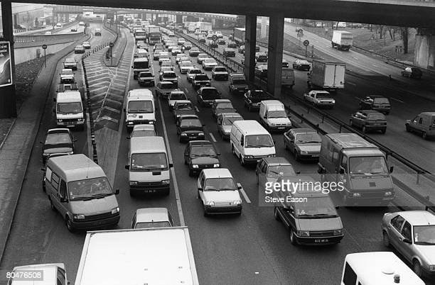 Traffic jams in Paris when a million people throughout France demonstrated against Juppe's welfare cuts during the three week general strike by...