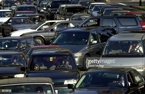 Traffic jams up trying to enter the 110 freeway May 7 in downtown Los Angeles CA The Texas Tranportation Institute annual report on congestion has...