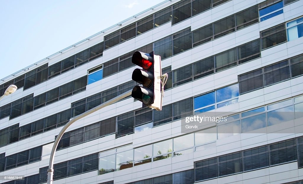 Traffic light activated a red light : Stock Photo