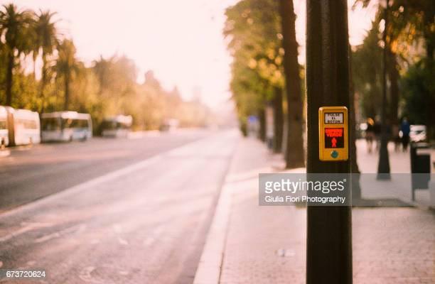 Traffic light button in Malaga