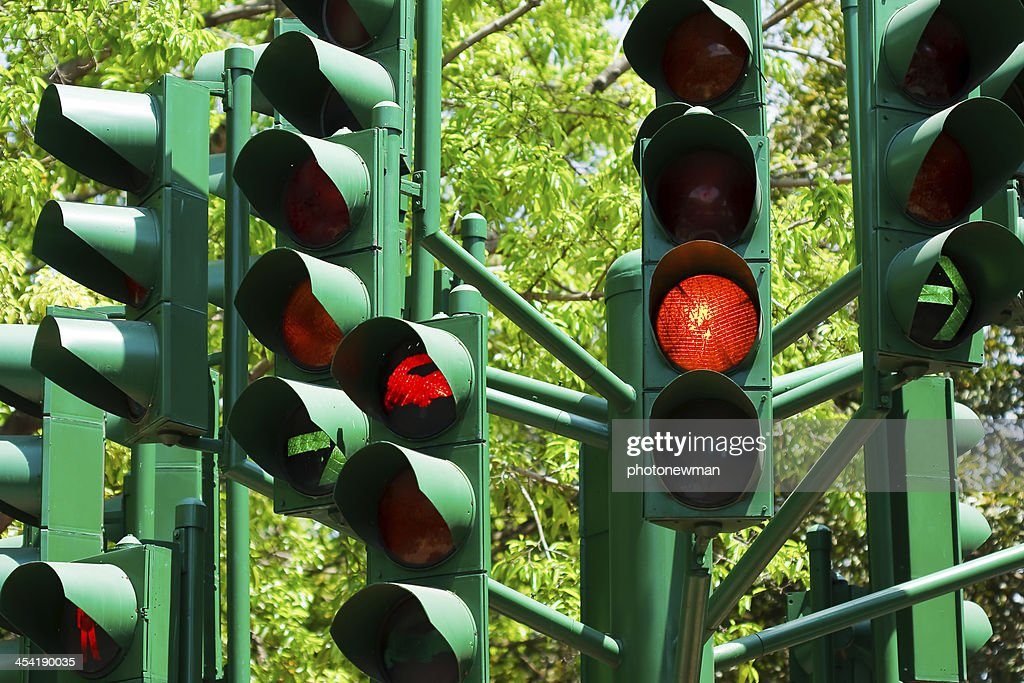 traffic light in all combinations. : Stock Photo
