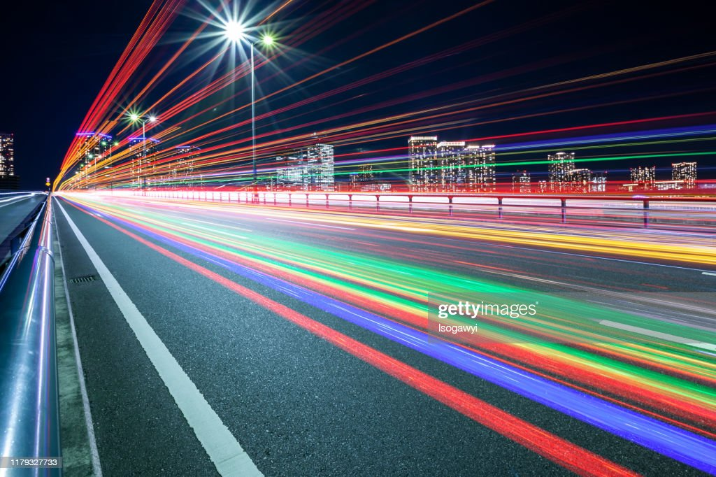 Traffic Light Trails At Tokyo Waterfront Area : ストックフォト