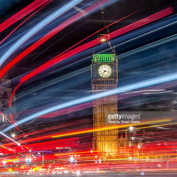Traffic light trails by Houses of Parliament