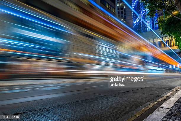 Traffic light trails in downtown of Hong Kong