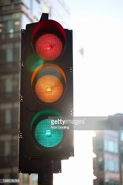 Traffic light with all lights illuminated