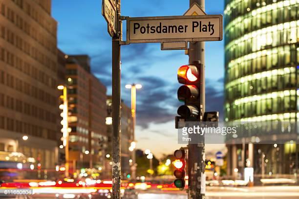 Traffic light with street sign Potsdamer Platz (Berlin)