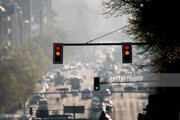 Traffic lights are pictured at the street Bismarckstrasse on April 16 2019 in Berlin Germany