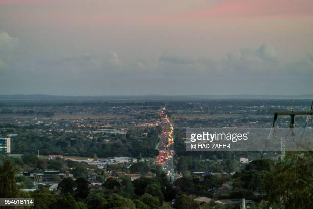 Traffic lights at sunset in suburban Melbourne | Australia