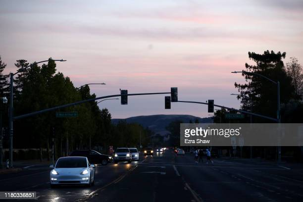 Traffic lights in the Sonoma area are out due to power outages on October 10 2019 in Sonoma California Power outages were scheduled as preemptive...