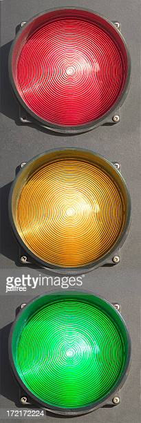 Traffic lights isolated on white red, amber, green
