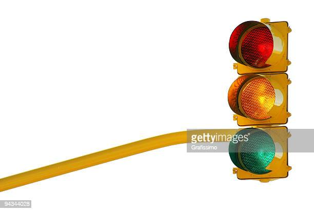 Traffic lights with all lights on isolated on white