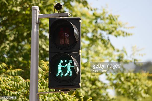 A traffic lightshowing a samesex couple is pictured ahead of the Eurovision Song Contest 2015 on May 16 2015 in Vienna Austria