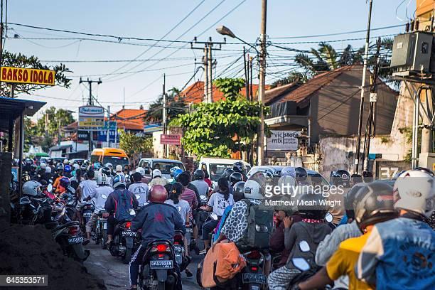 Traffic lines the streets of Kuta.