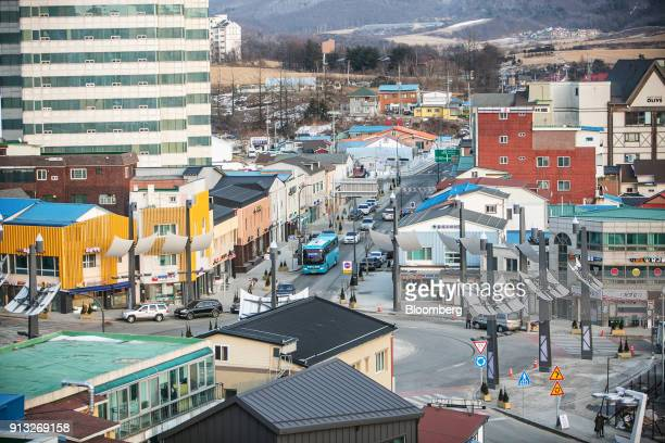 Traffic moves along a road in the Hoenggyeri village area of Pyeongchang Gangwon South Korea on Sunday Jan 21 2018 With the Winter Olympics set to...