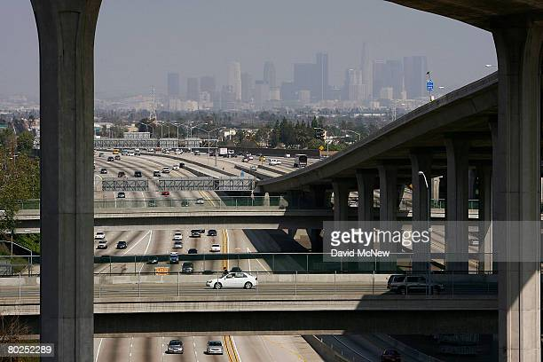 Traffic moves along the 110 freeway after Environmental Protection Agency Administrator Stephen L Johnson this week announced a modest lowering of...