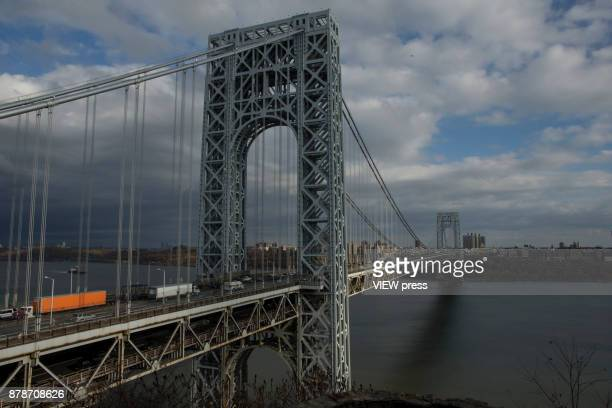 Traffic moves along the George Washington Bridge prior to the Thanksgiving holiday weekend on November 22 2017 in Fort Lee New Jersey