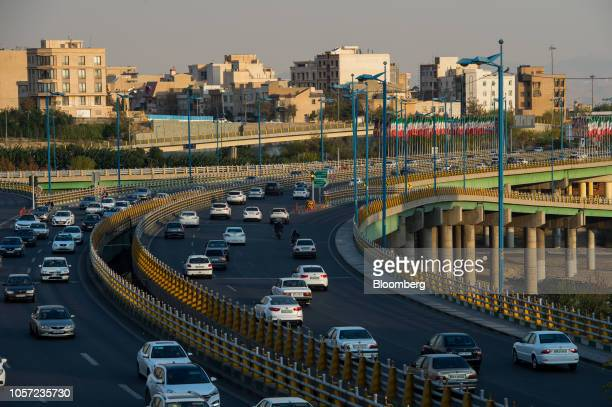 Traffic moves along the Hashemi Rafsanjani highway in Tehran Iran on Saturday Nov 3 2018 Irans Supreme Leader Ayatollah Khamenei said US...