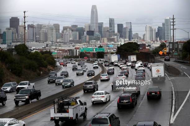 Traffic moves along US Highway 101 towards downtown San Francisco on November 27 2019 in San Francisco California Nearly 50 million people are...