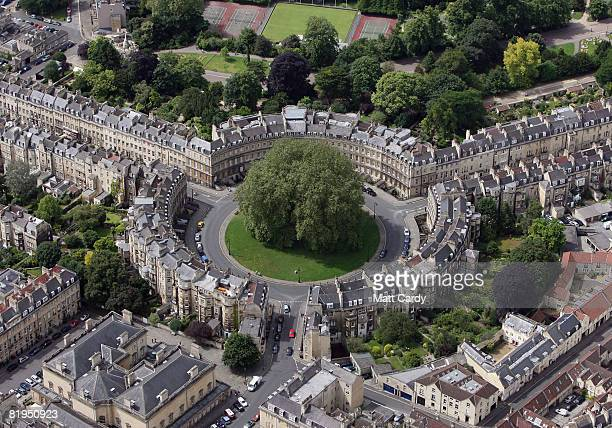 Traffic moves around The Circus and other streets in the centre of Bath on July 16 2008 in Bath Somerset England A United Nations mission is set to...