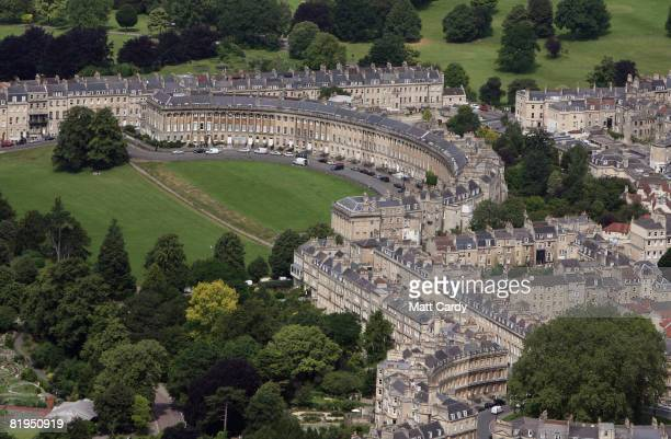 Traffic moves around The Royal Crescent and other streets in the centre of Bath on July 16 2008 in Bath Somerset England A United Nations mission is...