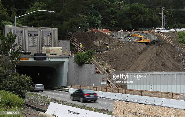 Traffic moves by a construction site at the Caldecott Tunnel fourth bore project June 3 2010 in Orinda California US Sen Barbara Boxer visited the...