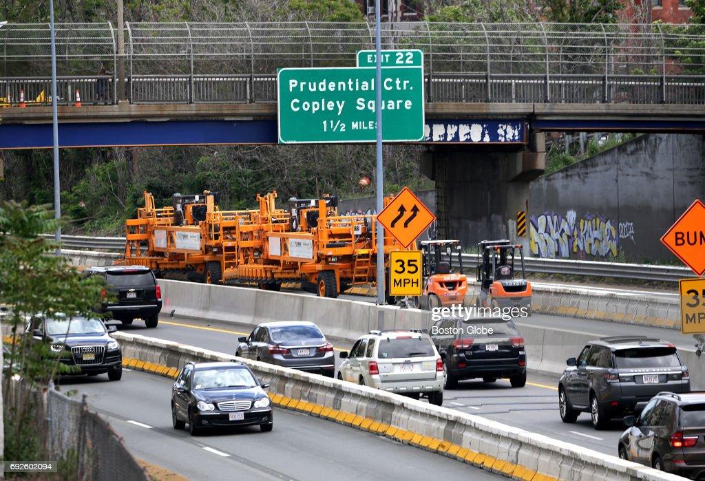 Traffic moves freely on the Massachusetts Turnpike despite