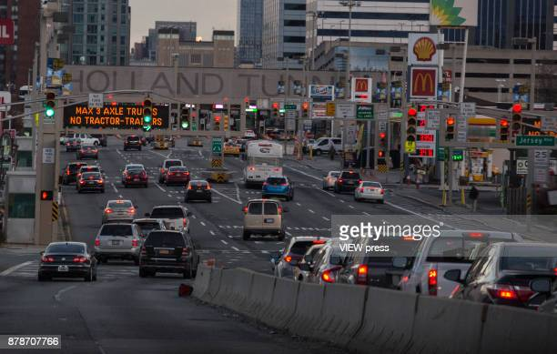 Traffic moves into the Holland Tunnel prior to the Thanksgiving holiday weekend on November 22 2017 in Jersey City New Jersey