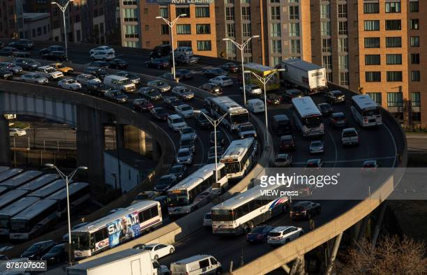 Traffic moves into the Lincoln Tunnel prior to the Thanksgiving holiday weekend on November 22 2017 in Union City New Jersey