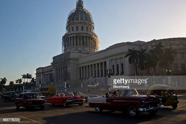 Traffic moves past the Capitolio building in Havana Cuba on Sunday Feb 1 2015 Declaring that decades of US policy had failed to promote democracy in...