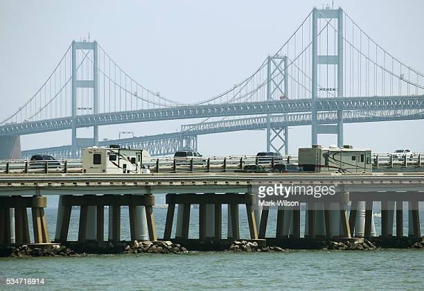 Traffic moves slowly across the Chesapeake Bay Bridge May 27 2016 in Annapolis Maryland Area traffic is expected to be heavy through the Memorial Day...