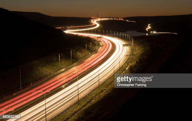 Traffic moves slowly along the M62 motorway near Saddleworth Moor in the Pennines on December 15, 2017 in Ripponden, England.