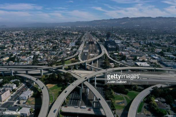 Traffic moves through an interchange along Interstate 580 on July 25 2019 in Oakland California The State of California and four of the largest...