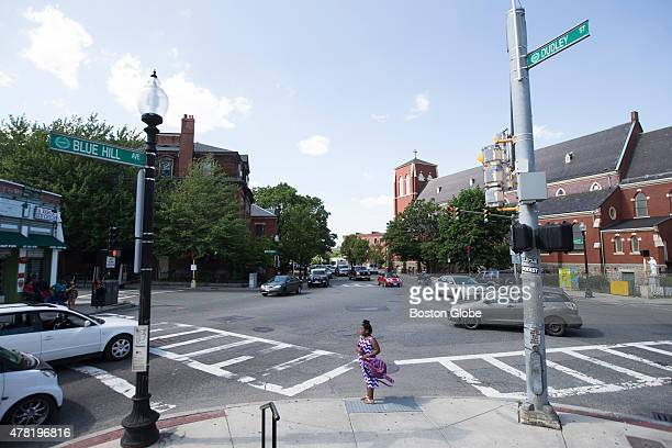 Traffic moves through Dudley Street and Blue Hill Avenue in Boston Mass June 10 2015 There is proposal being made to name the section after former...