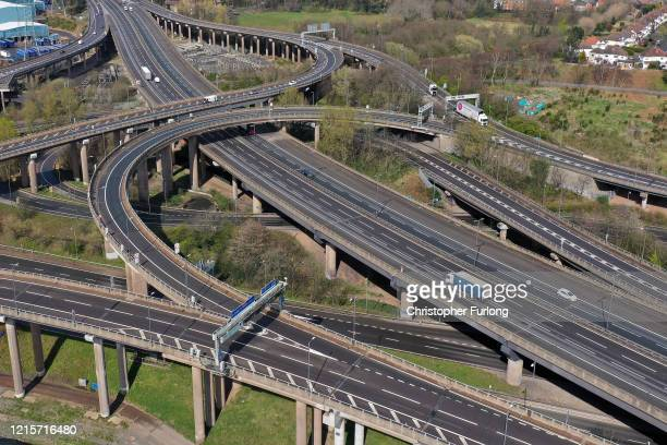 Traffic moves through Gravelly Hill Interchange junction 6 of the M6 motorway where it meets the A38 Aston Expressway commonly known as Spaghetti...