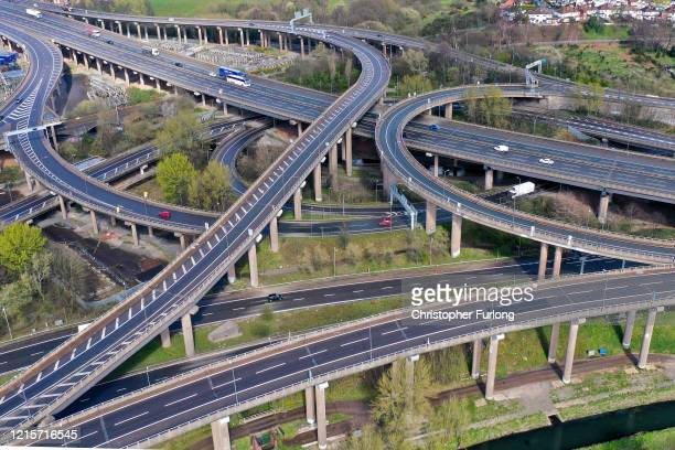 Traffic moves through Gravelly Hill Interchange, junction 6 of the M6 motorway where it meets the A38 Aston Expressway, commonly known as Spaghetti...