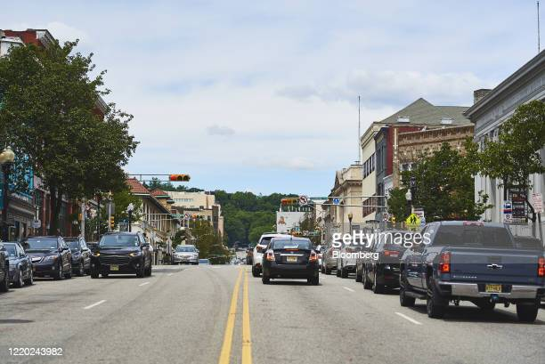 Traffic moves through Montclair, New Jersey, U.S., on Monday, June 15, 2020. New Jersey enters Phase 2 on Monday, opening up outdoor dining,...