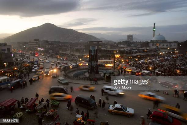Traffic moves through the old district February 11, 2006 in Kabul, Afghanistan. With the huge influx of foreign revenue, Kabul's economy is booming...