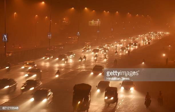 Traffic moving slowly as the whole city is engulfed in heavy smog air quality deteriorated sharply overnight leading to poor visibility conditions...