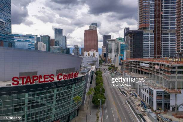 Traffic near Staples Center is light after the new restrictions went into effect at midnight as the coronavirus pandemic spreads on March 20 2020 in...
