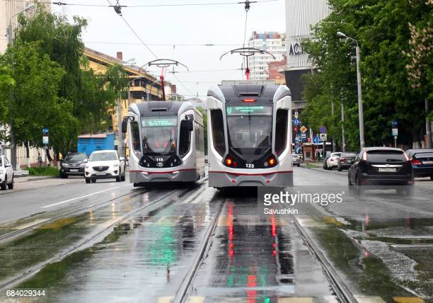 Traffic of trams and cars