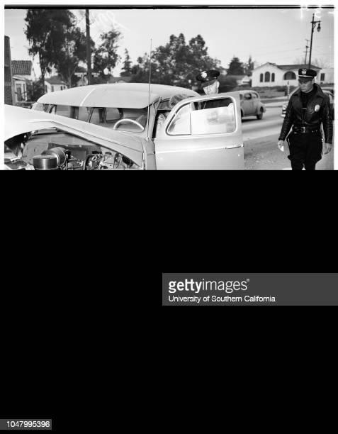 Traffic Olympic and Louisiana West Los Angeles May 28 1951 Officer I N BornsonOfficer Jack Fullerambulance attendant Donald Williamsambulance...