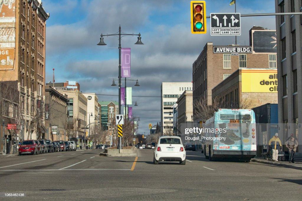 Traffic on 3rd Avenue in Downtown Saskatoon : Stock Photo