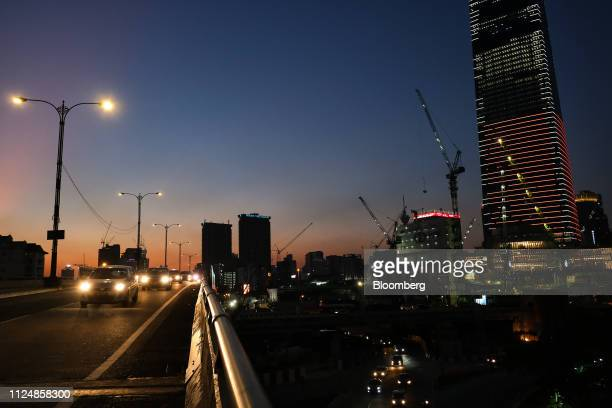 Traffic on a flyover passes the under construction Exchange 106 building right on the site of the Exchange TRX precinct in Kuala Lumpur Malaysia on...